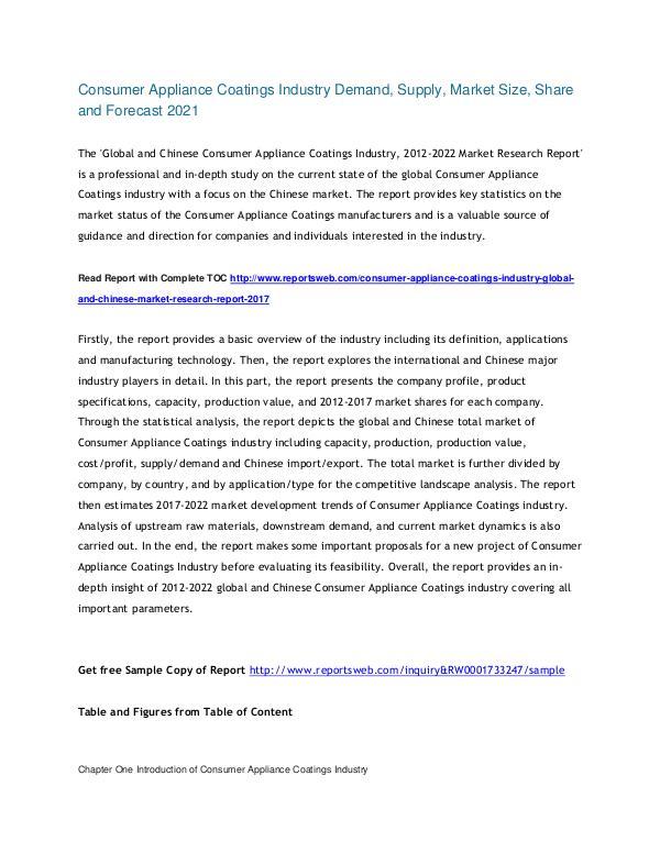 market web 2017 Consumer Appliance Coatings Market
