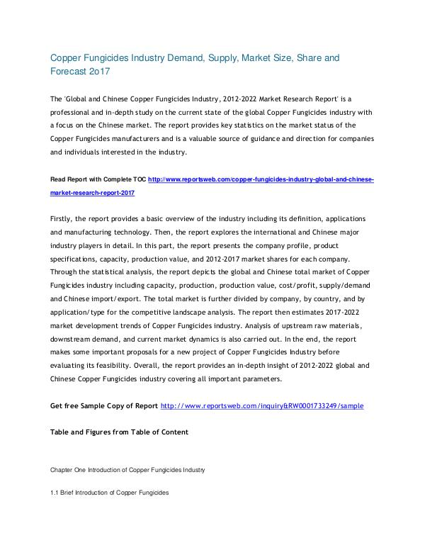 ReportsWeb Copper Fungicides Industry Report 2022 Global