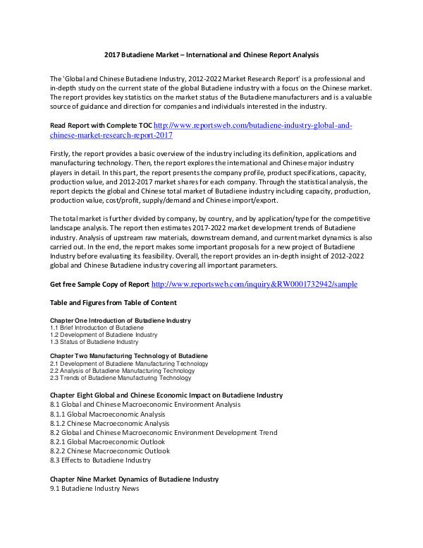 ReportsWeb Butadiene Market Report 2017 Trends