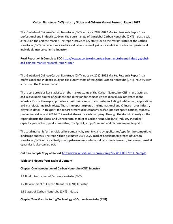 Market Research Study 2017 Carbon Nanotube Market International Report