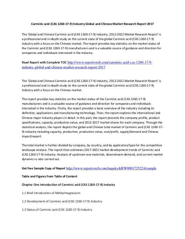 Market Research Study 2017 Carminic acid Market International Report Ana