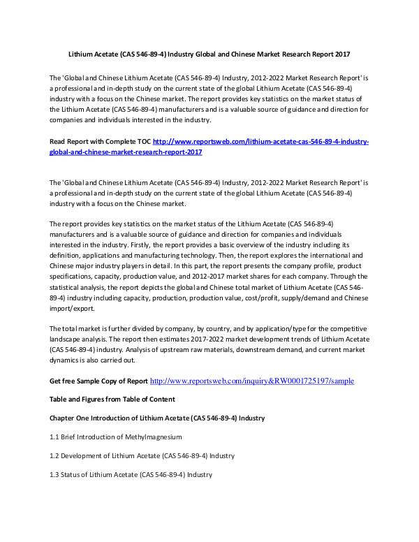 Market Research Study 2017 Lithium Acetate Market International Report A
