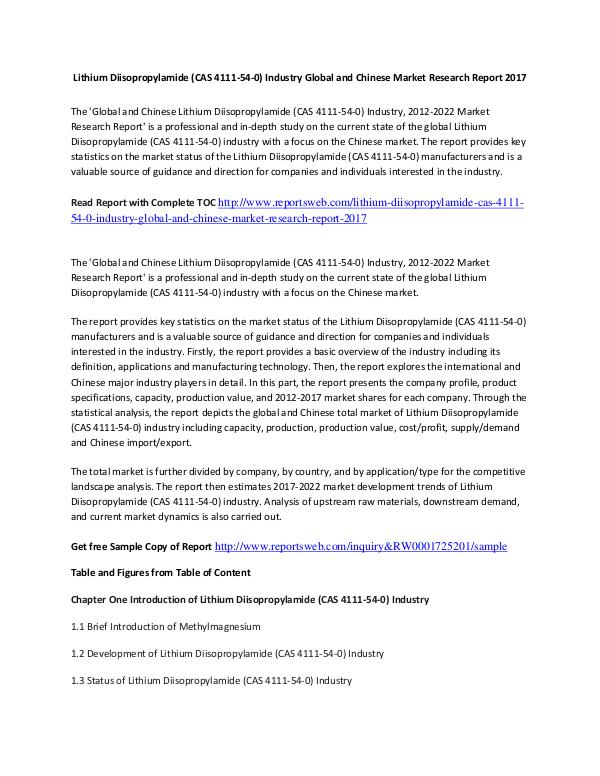 Market Research Study Lithium Diisopropylamide Market Report 2017