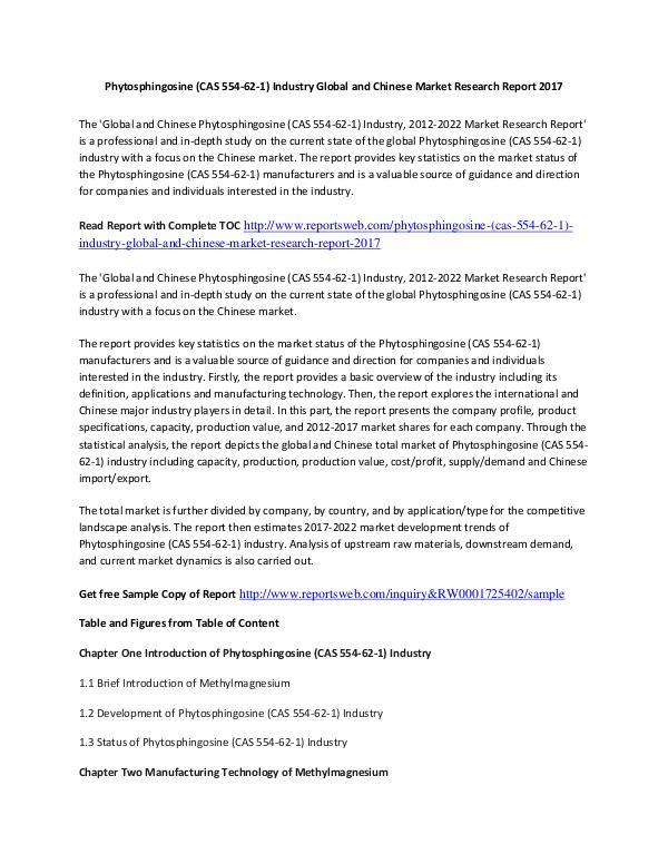 Market Research Study Phytosphingosine Market 2017 Key Manufacturers