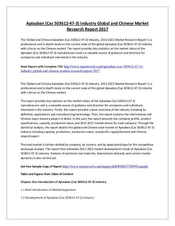 Market Research Study 2017 Apixaban Market International Report Analysis