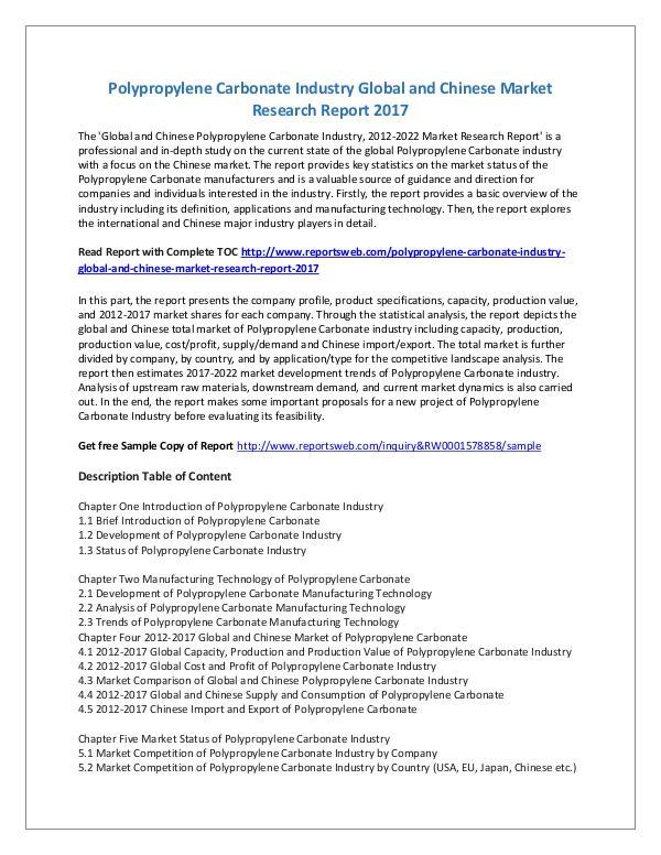 Market Research Study Polypropylene Carbonate Market Global Trends