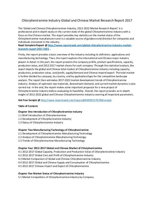 Market Research Study Chlorpheniramine Industry Key Manufacturer