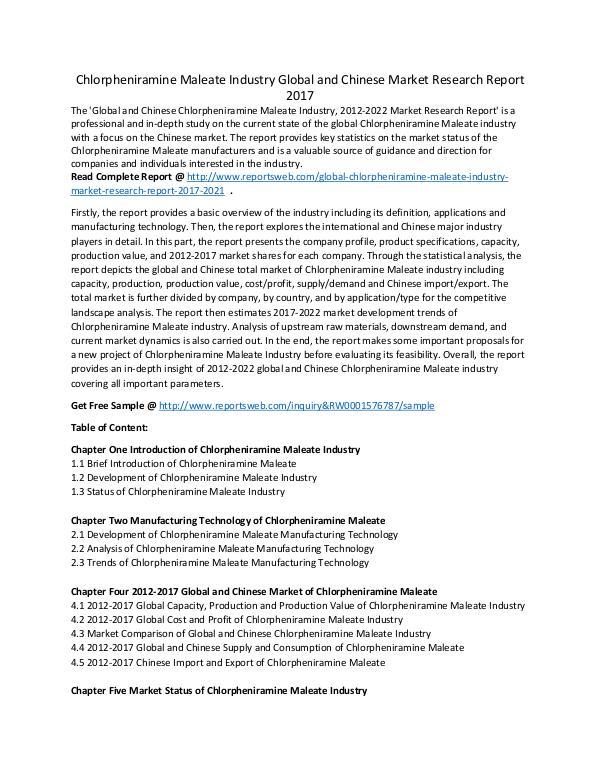 Market Research Study Chlorpheniramine Industry Growth, Development