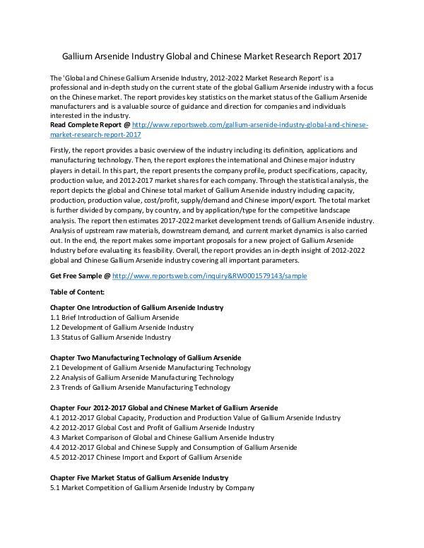 Market Research Study Gallium Arsenide Market Growth and Development