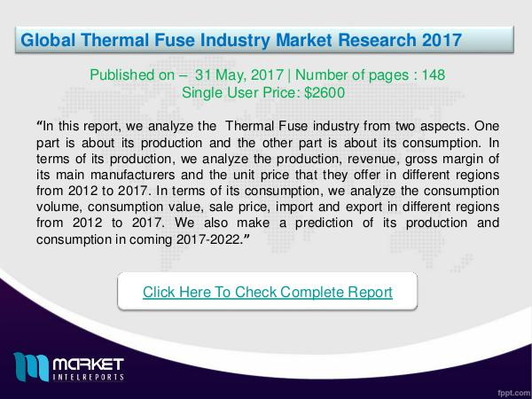 My first Magazine Global Thermal Fuse Industry2017 Research Report  