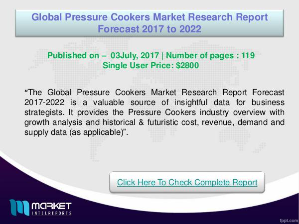 My first Magazine Global Pressure Cookers Market Analysis 2017
