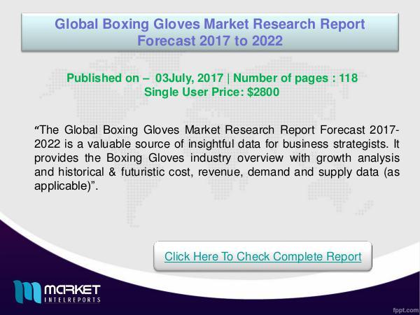 Global Boxing Gloves Market Analysis 2022