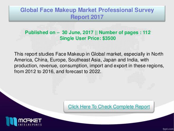 Global Face Makeup Market Analysis 2017- Latest
