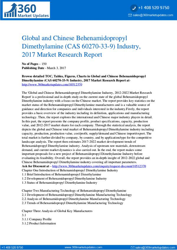 Report- Behenamidopropyl Dimethylamine