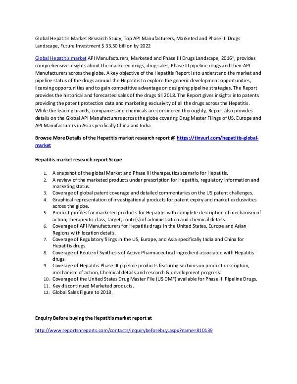 Global Hepatitis Market Research Study Hepatitis Market