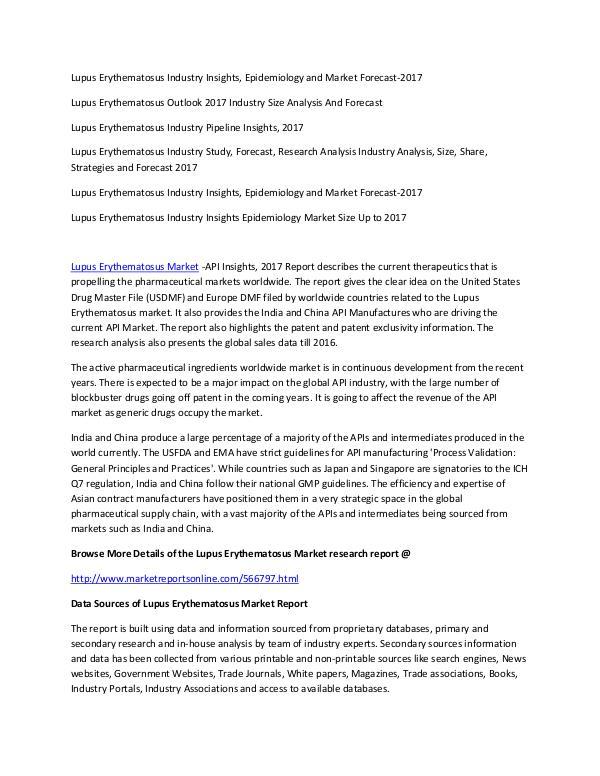 Lupus Erythematosus Industry Lupus Erythematosus Market