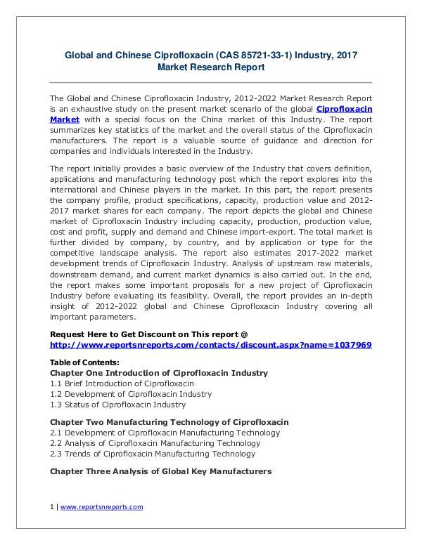 Ciprofloxacin Market Global Trend, Profit and Key Manufacturers Ciprofloxacin (CAS 85721-33-1) Industry