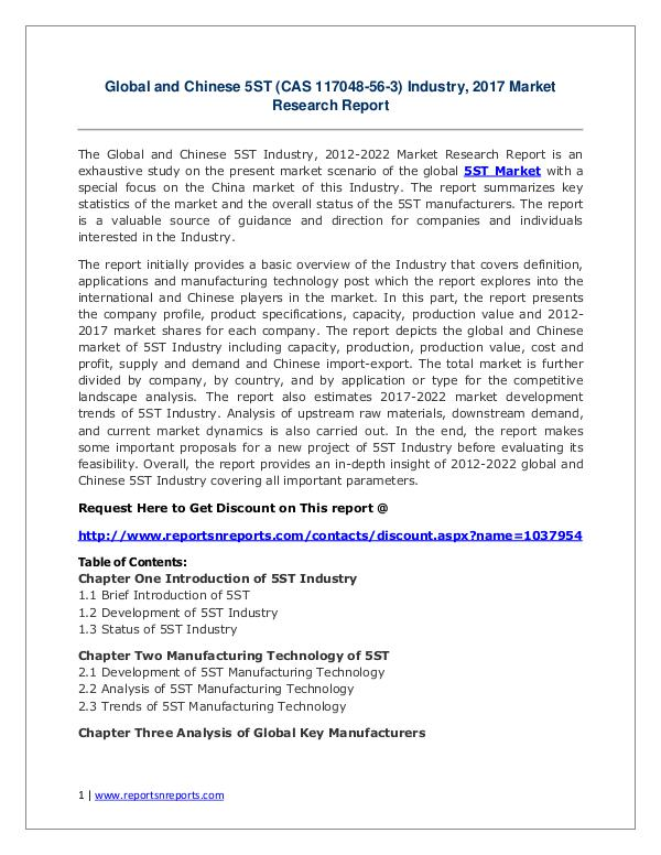 5ST Industry 2017 Market Size, Share and Growth Analysis Research Rep Global and Chinese 5ST (CAS 117048-56-3) Industry,