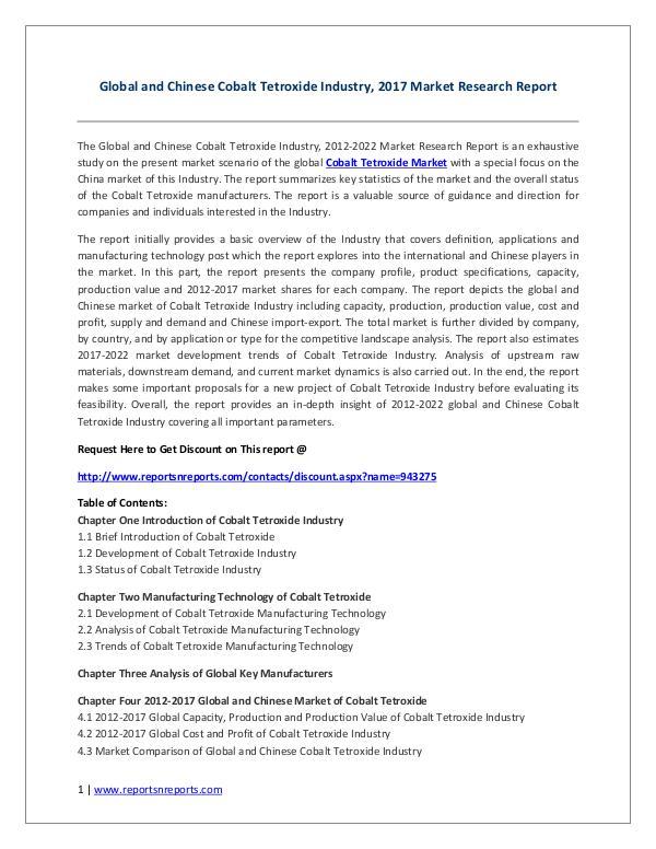 Cobalt Tetroxide Industry 2017 Market Trends and Competitive Landscap Cobalt Tetroxide Industry