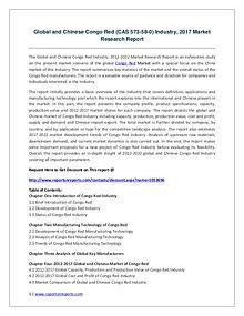 Congo Red (CAS 573-58-0) Industry Report