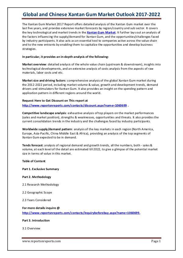 Xantan Gum Industry 2017 Market The Xantan Gum Market 2017 Report