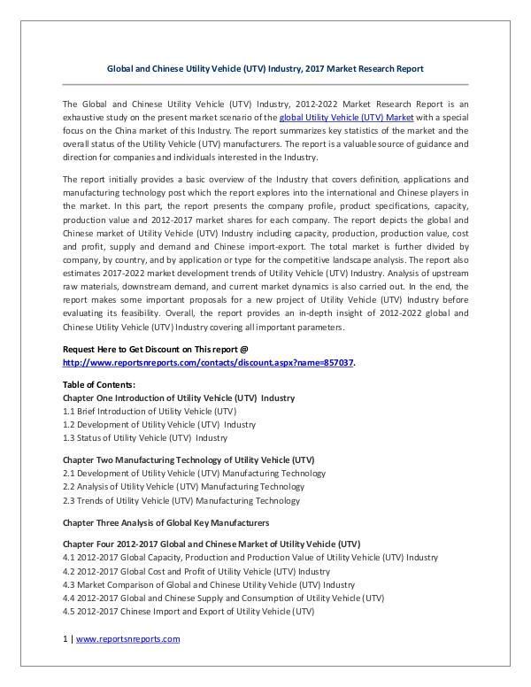 Global and Chinese Utility Vehicle (UTV) Industry, 2017 Market Resear Global and Chinese Utility Vehicle (UTV) Industry,