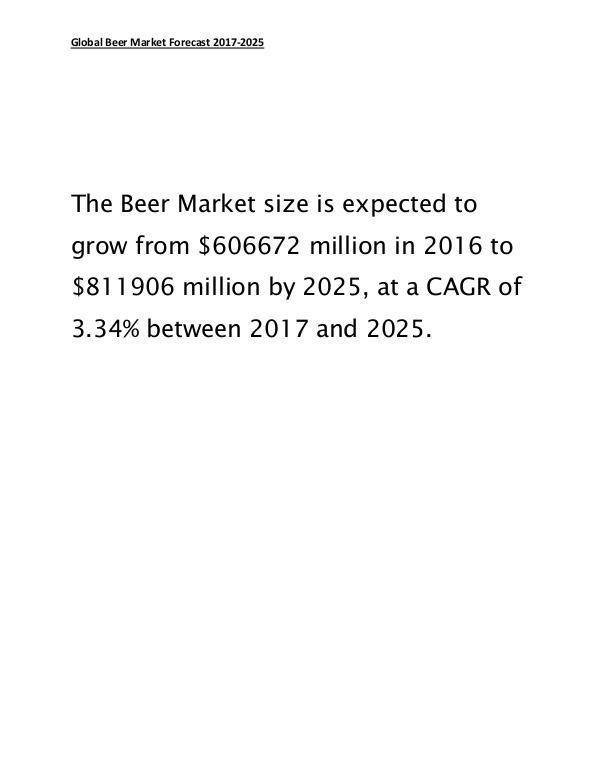Global Beer Market to Reach $811906 Million by 2025 March 2017