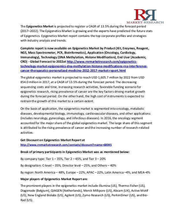 Epigenetics Market Report of Trends, Demands & Industry Prospect 2017 Oct 2017
