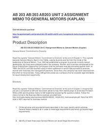 AB 203 AB/203 AB203 UNIT 2 ASSIGNMENT MEMO TO GENERAL MOTORS (KAPLAN)