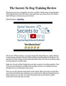 Secrets To Dog Training PDF / Book By Daniel Stevens