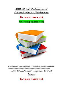 ADM 506 help A Guide to career/Snaptutorial