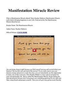 Manifestation Miracle Book / Manual PDF Free Download