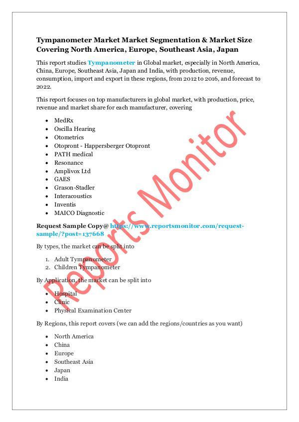 Machinery and Equipments Tympanometer Market Market Segmentation & Market S