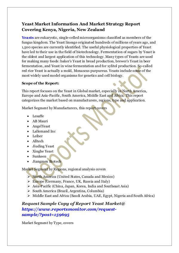 Machinery and Equipments Yeast Market Information And Market Strategy Repor