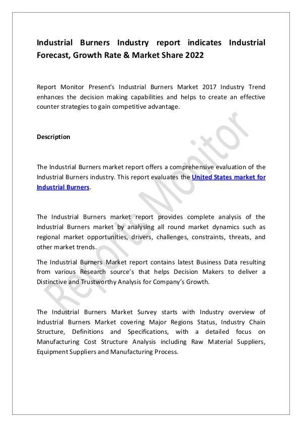 Machinery and Equipments Industrial Burners Industry report indicates Indus