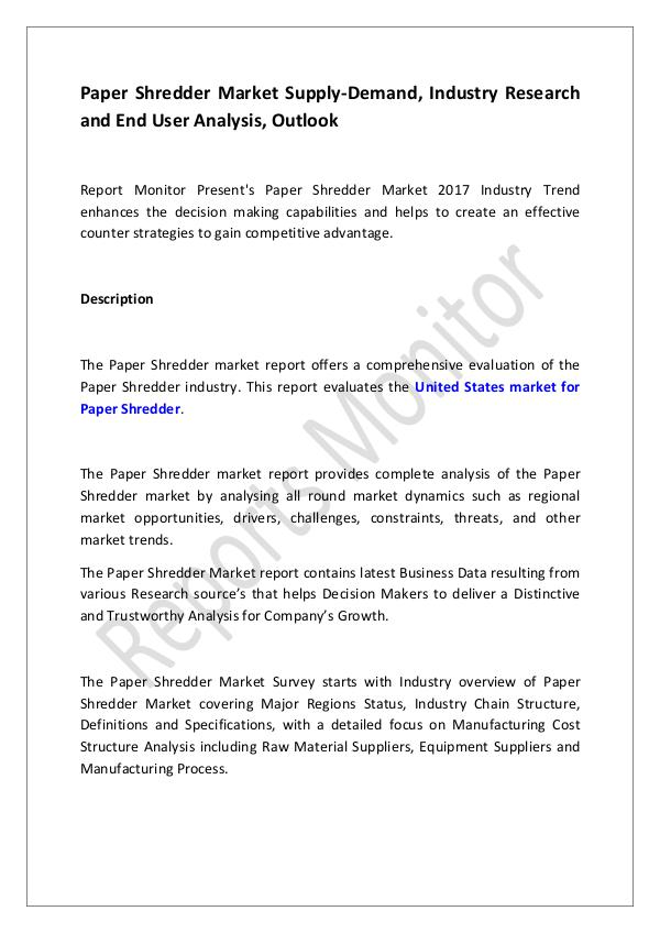 Machinery and Equipments Paper Shredder Market Supply-Demand, Industry Rese