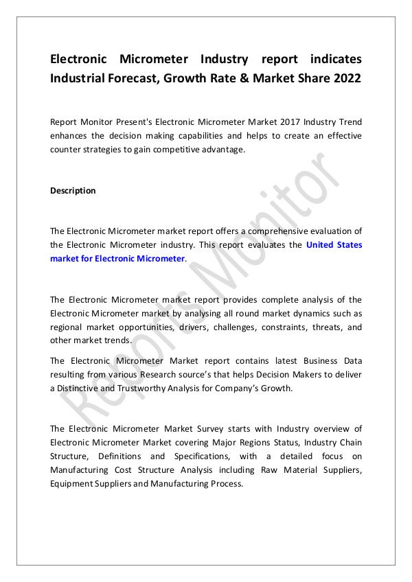 Machinery and Equipments Electronic Micrometer Industry report indicates In
