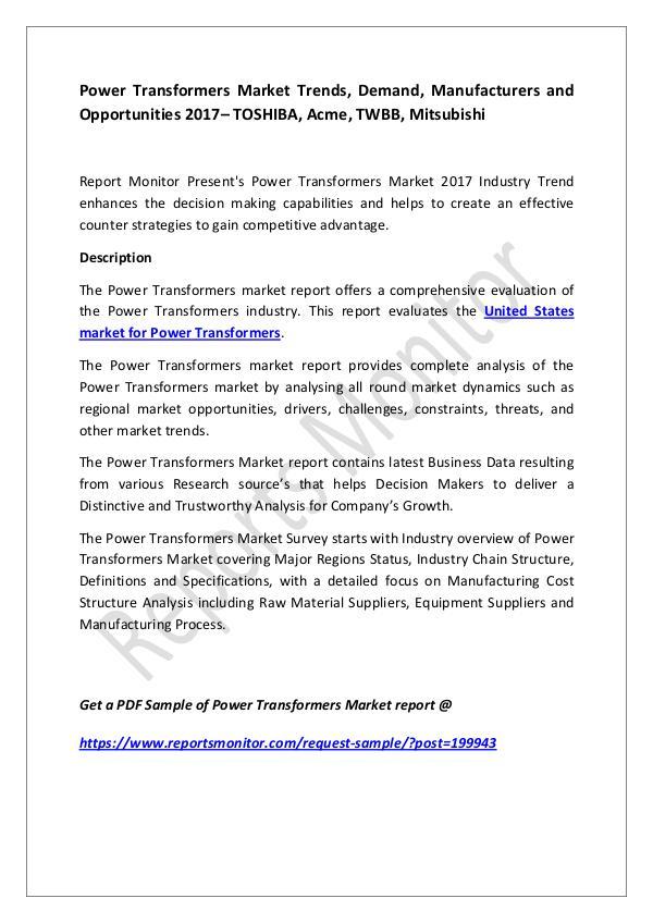 Power Transformers Market Trends, Demand, Manufact