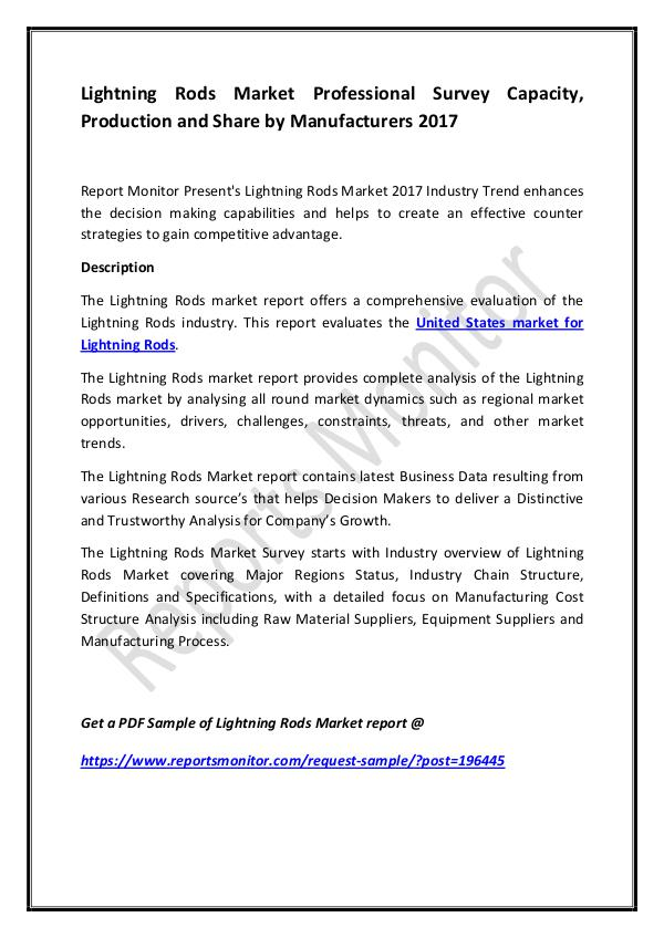 Lightning Rods Market Professional Survey Capacity