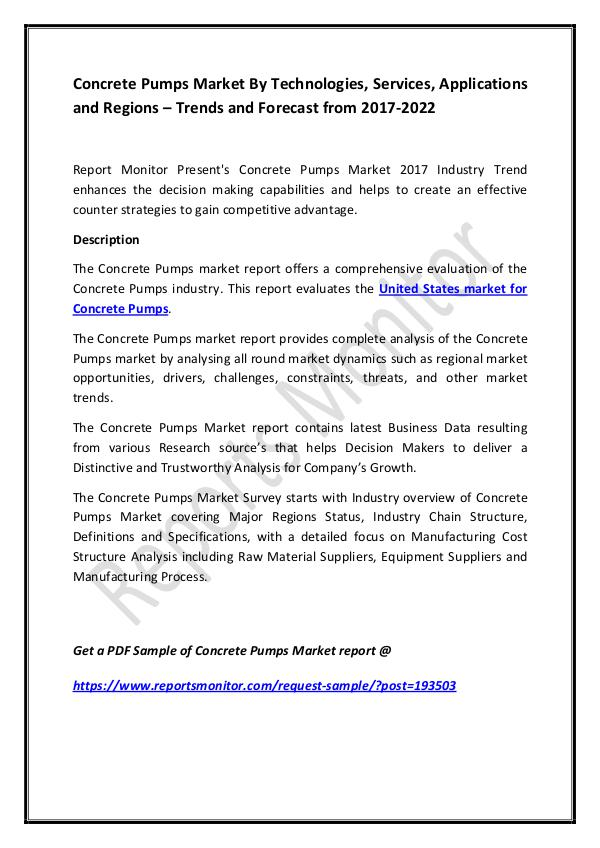 Concrete Pumps Market By Technologies, Services, A