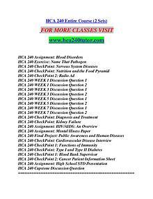 HCA 240 TUTUOR Motivated Minds/hca240tutor.com
