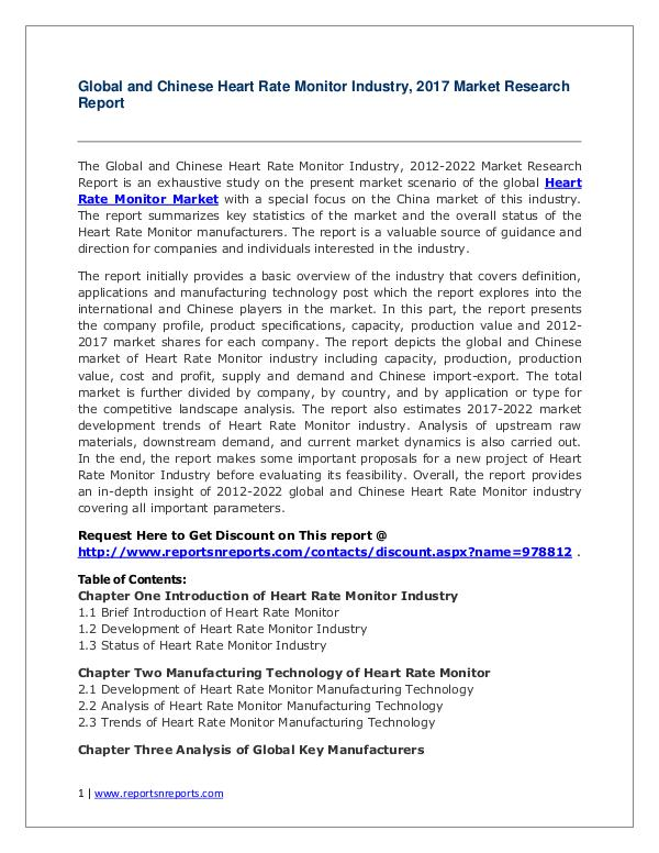 Heart Rate Monitor Market Global and Chinese (Value, Cost or Profit) Global and Chinese Heart Rate Monitor Industry, 20