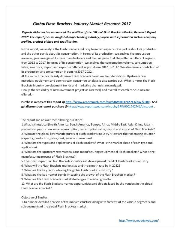 Market Studies Global Flash Brackets Industry Market Research 201