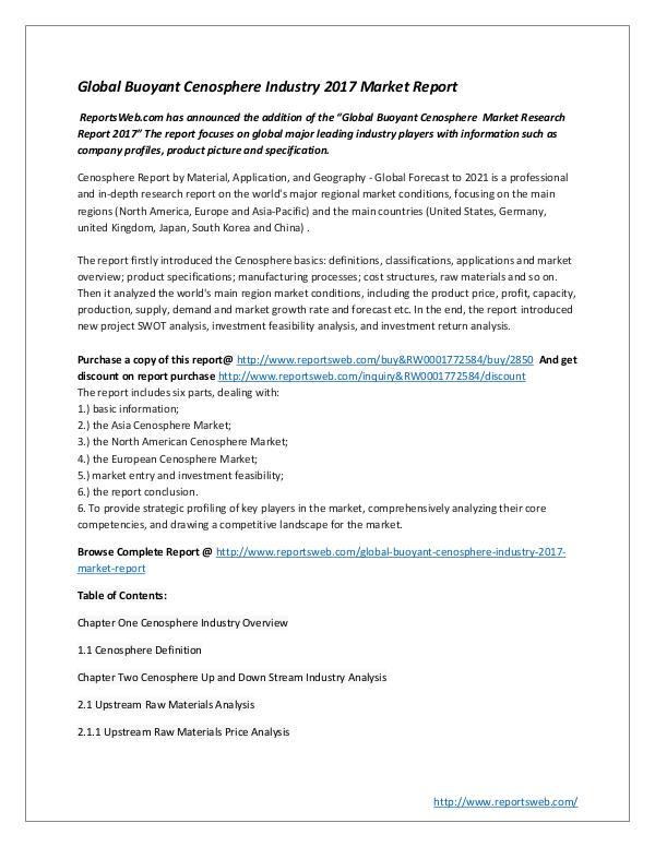 Market Studies Global Buoyant Cenosphere Industry 2017 Market Rep