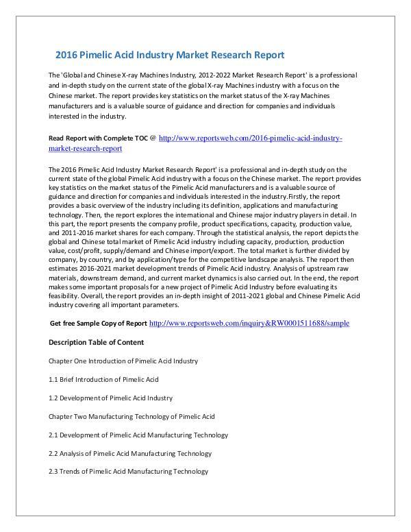 Market Studies 2016 Pimelic Acid Industry Market Research Report