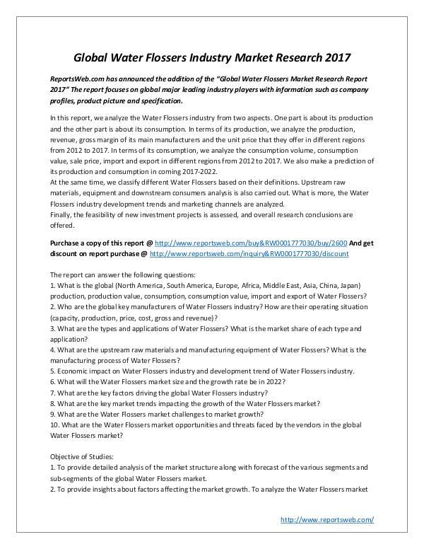 Market Studies Global Water Flossers Industry Market Research 201