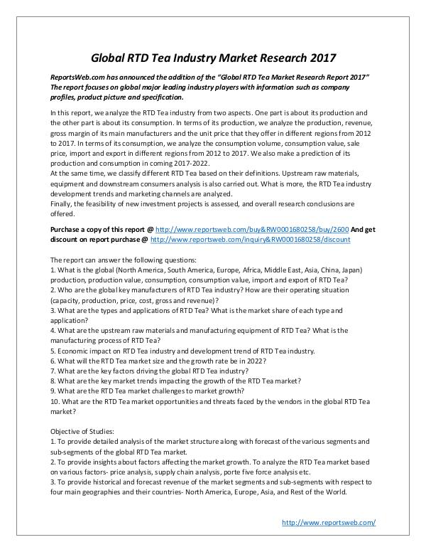 Market Studies 3Global RTD Tea Industry Market Research 2017