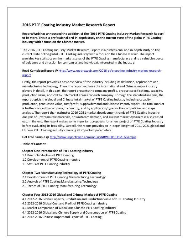 Market Studies 2016 PTFE Coating Industry Market Research Report