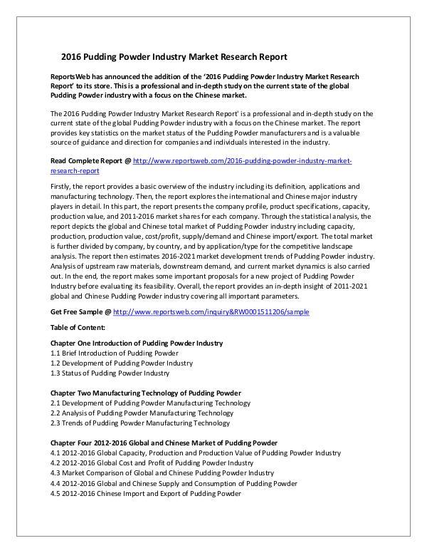 Market Studies 2016 Pudding Powder Industry Market Research Repor