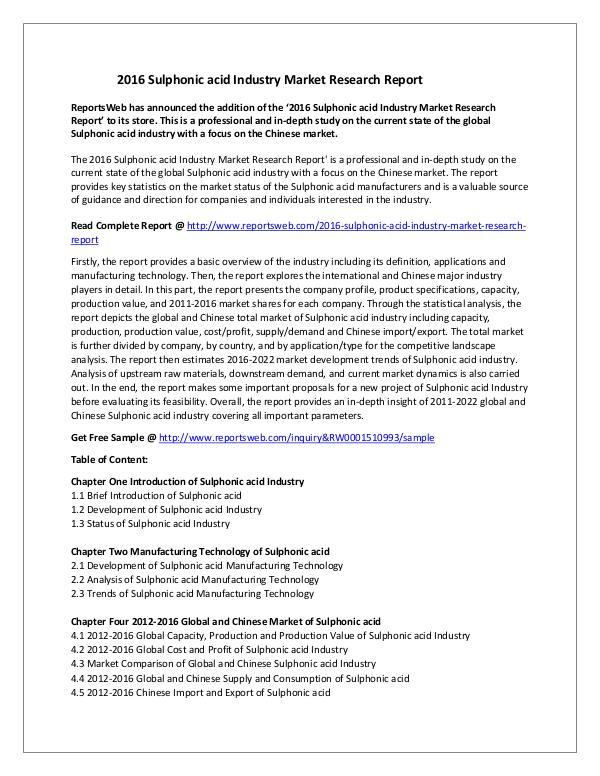 Market Studies 52016 Sulphonic acid Industry Market Research Repo